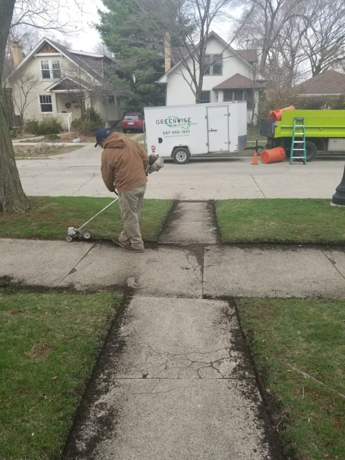 Greenwise crew edging lawn