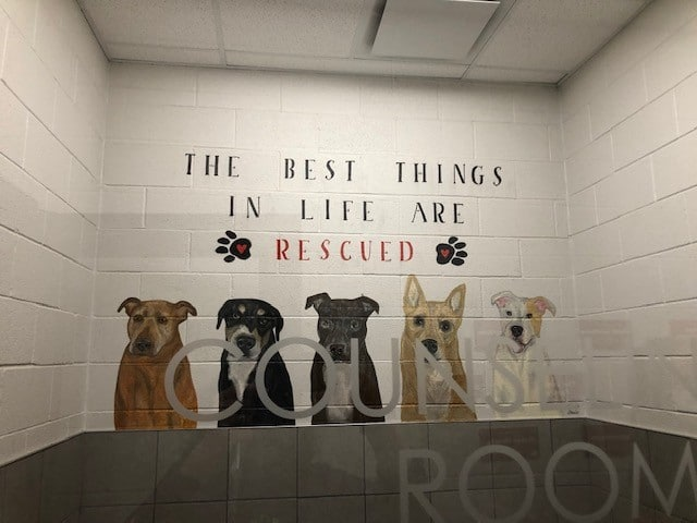Mural about rescuing dogs